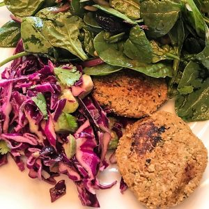 Chickpea Cakes and Red Cabbage Salad